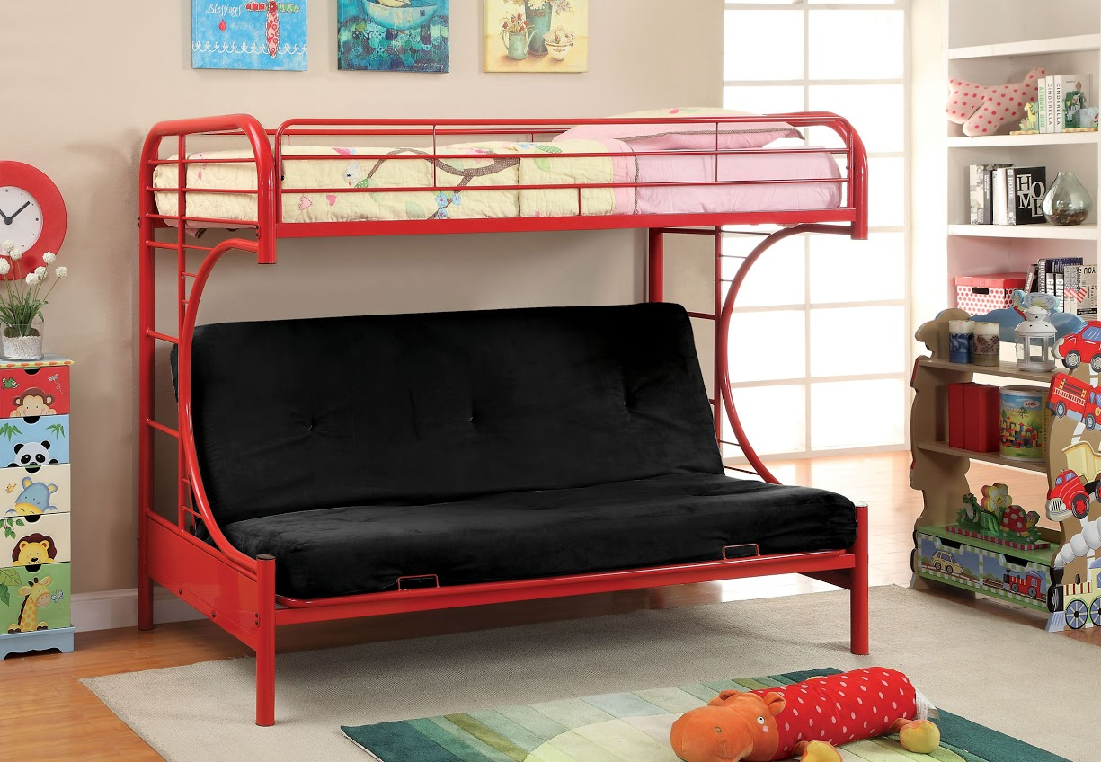 Furniture of america red twin futon bunk bed for Furniture of america loft bed