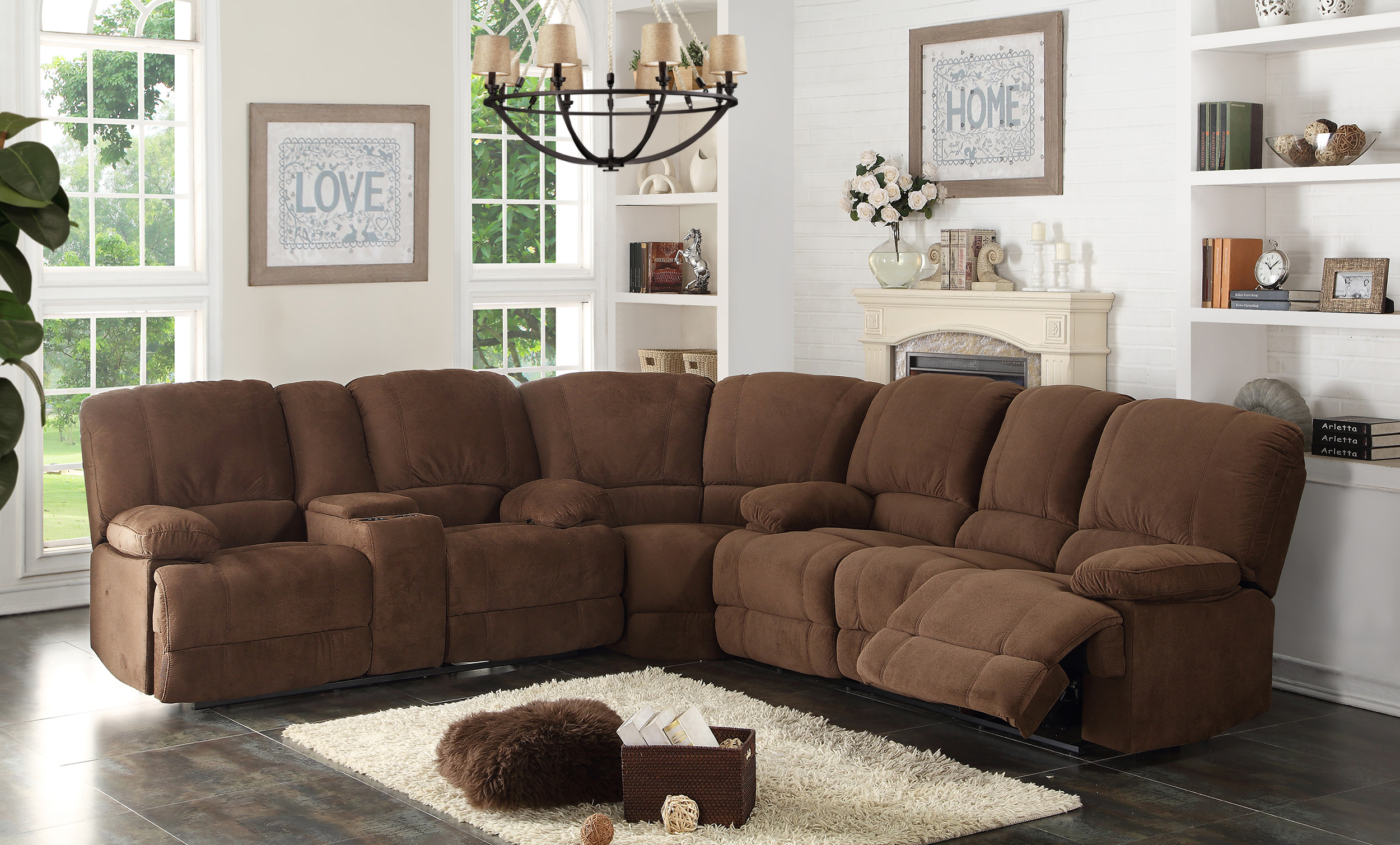 Ac Pacific Corp Kevin Ii Brown Dual Reclining Sectional ~ Dual Recliner Sectional Sofa