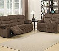 AC Pacific Corp Bill Brown Dual Reclining Sofa And Loveseat With Console