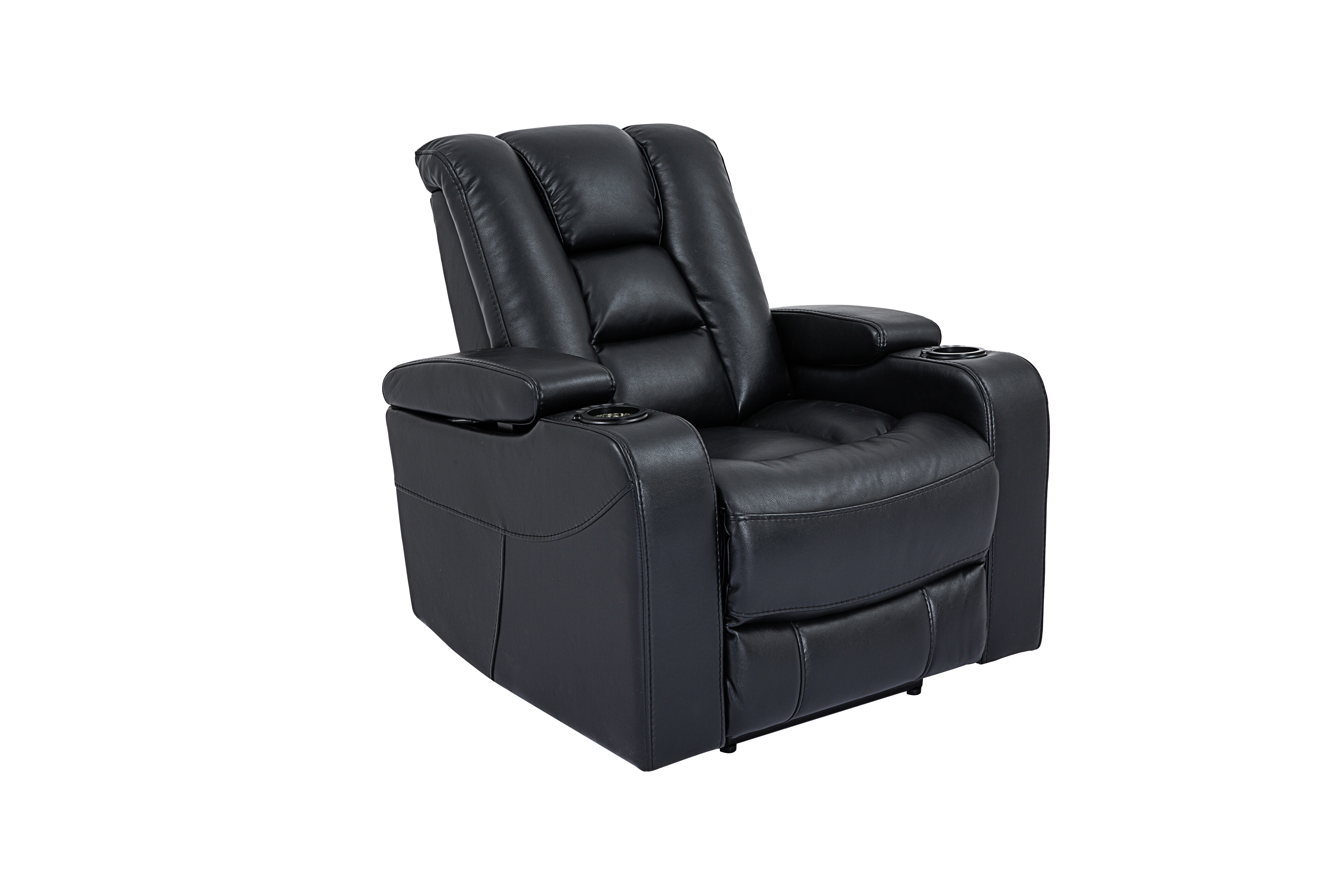 Cheers Black Dual Power Reclining Loveseat With Light