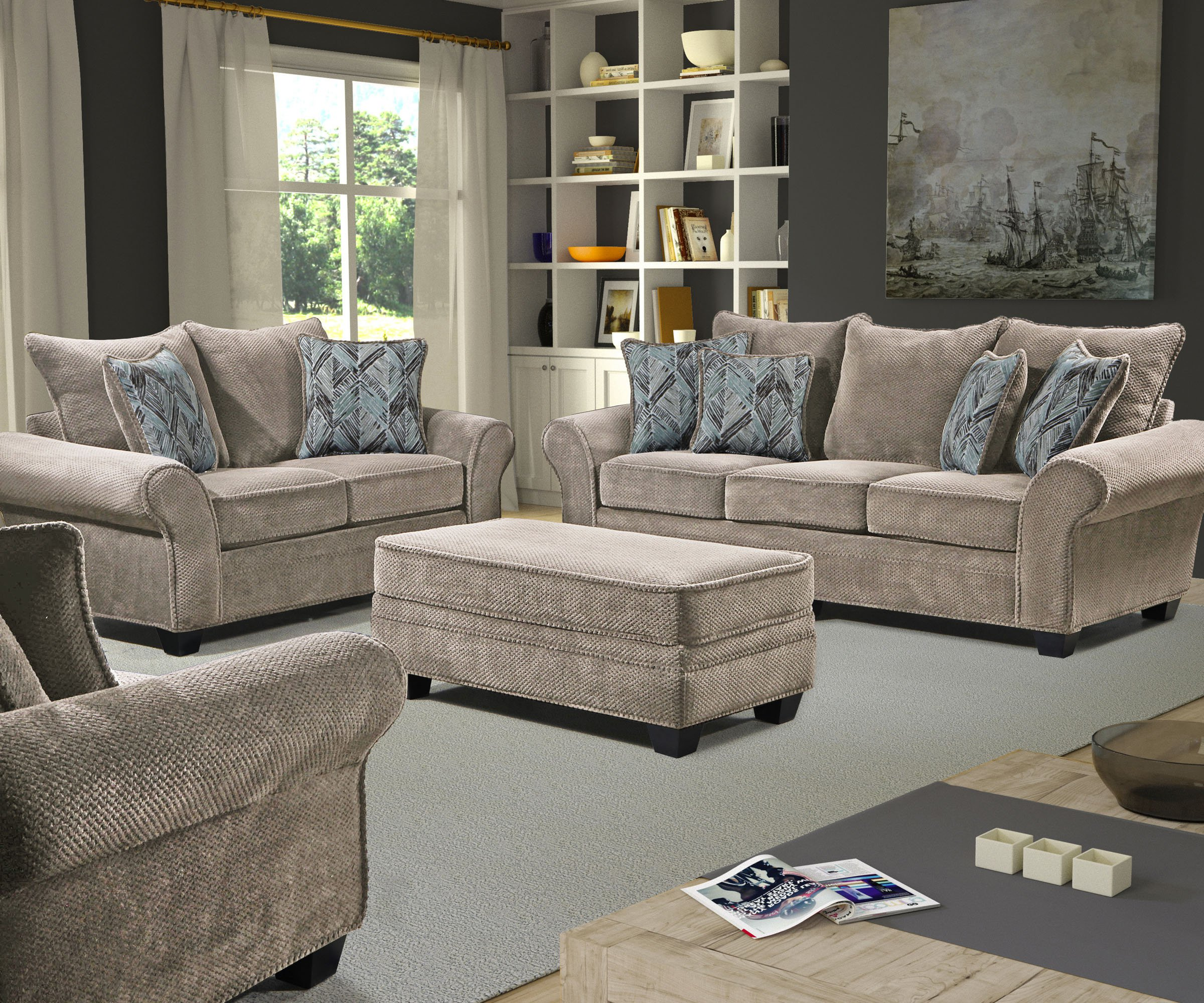 Behold home trinidad sand sofa and loveseat for Living room furniture trinidad
