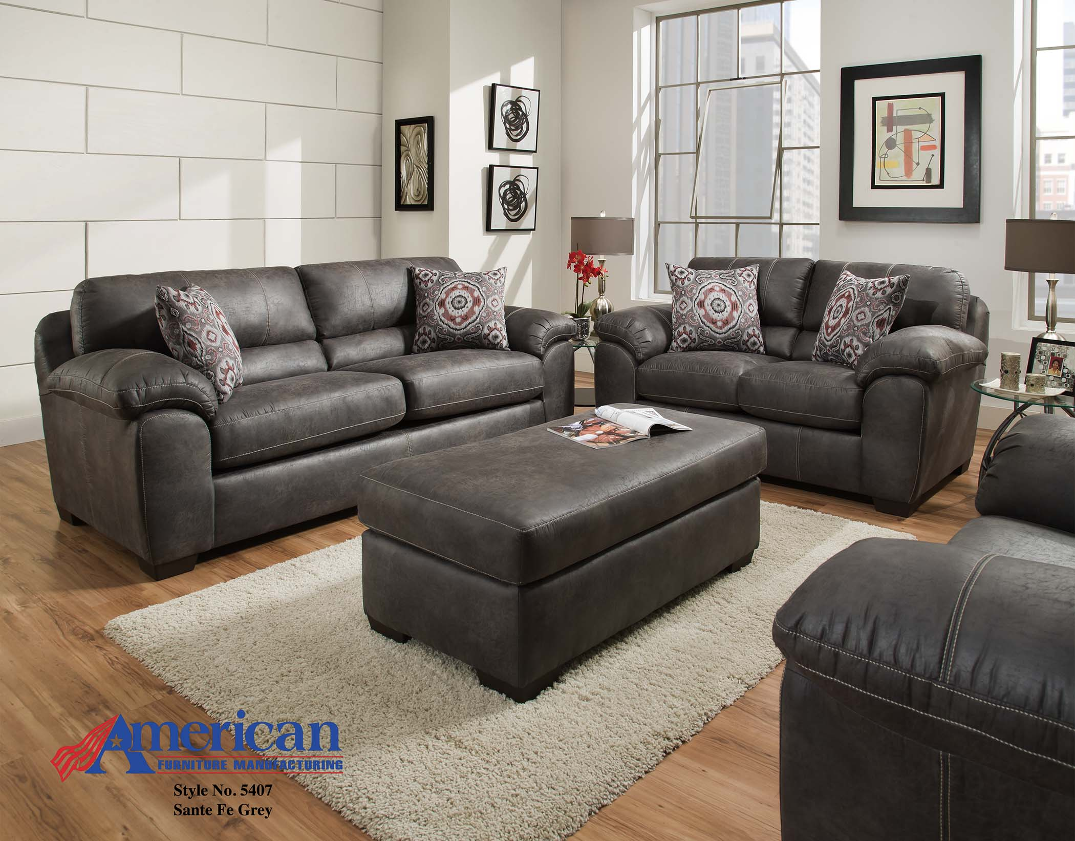 American Furniture Santa Fe Grey Sofa And Loveseat ~ Grey Sofa And Loveseat Sets