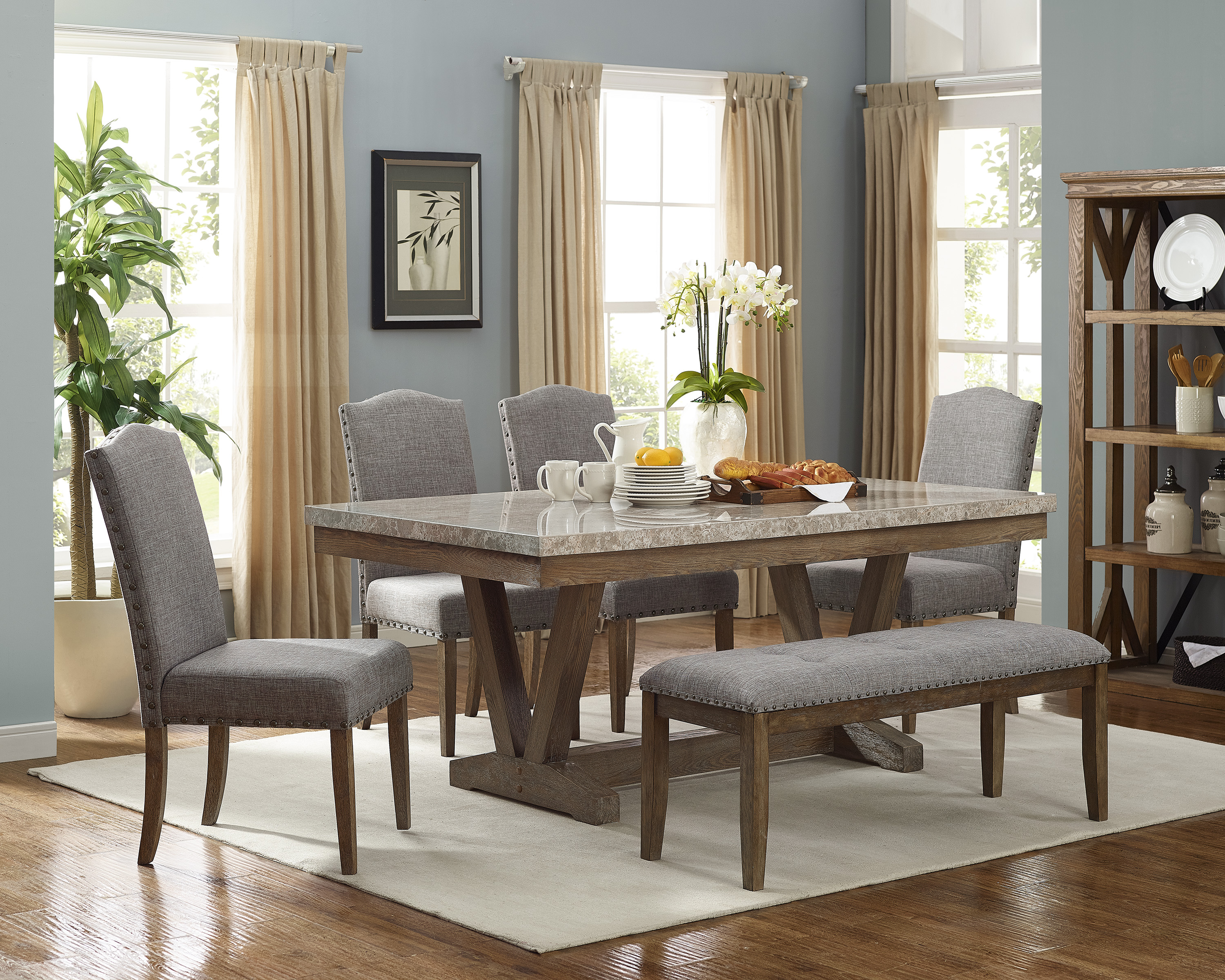 Crown Mark Vesper 6 Piece Dining Set With Bench