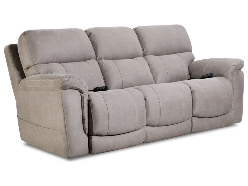 Homestretch Tuscon Dove Triple Power Reclining Sofa And