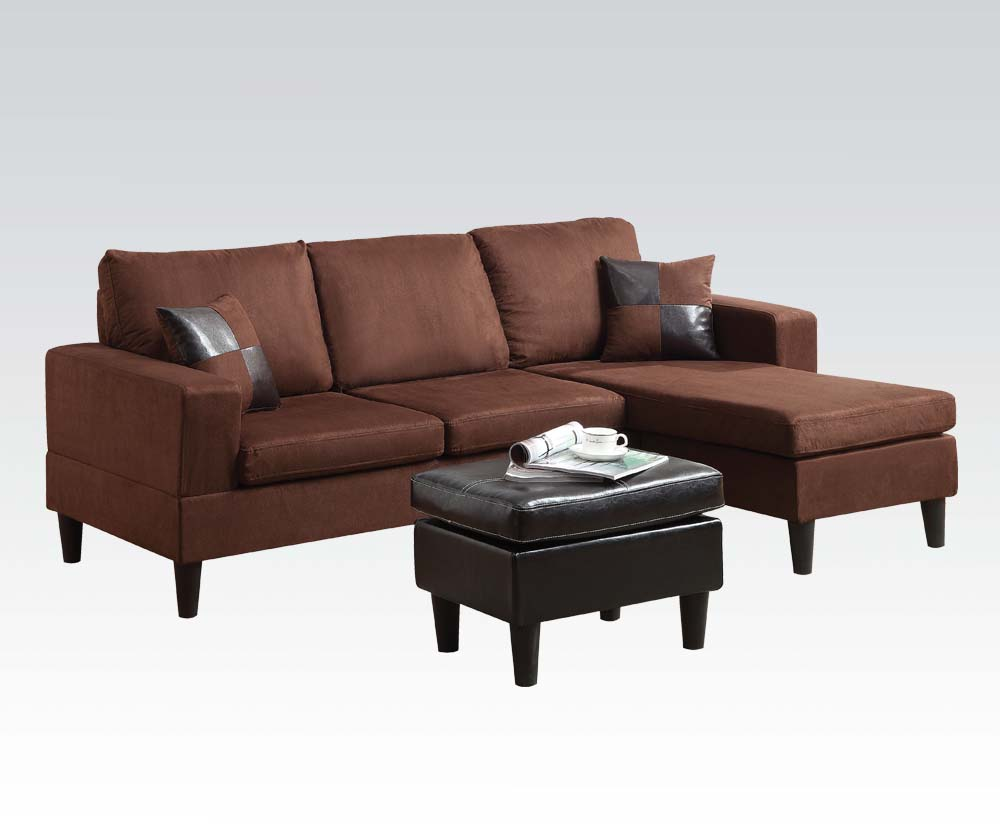 Acme furniture robyn chocolate chaise sofa for Alexander sectional sofa chaise