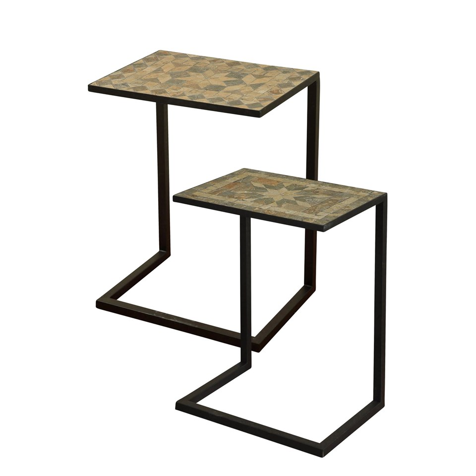 Stylecraft Barclay Brass 3 Piece Living Room Accent Table: Metal Side Table With Inlaid Mosaic Stone