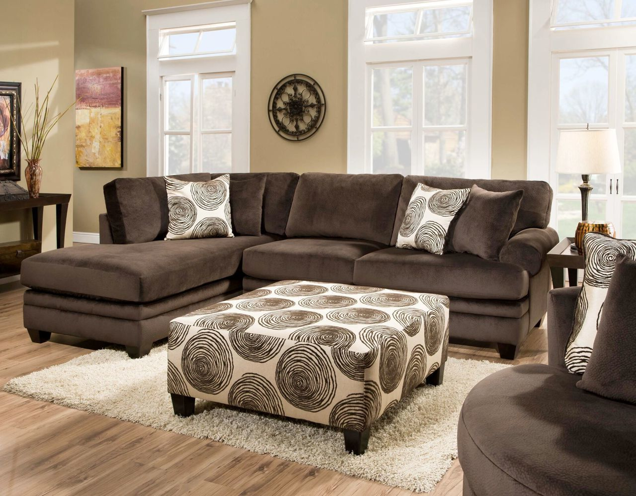 Groovy Chocolate 2 Piece Chaise Sectional
