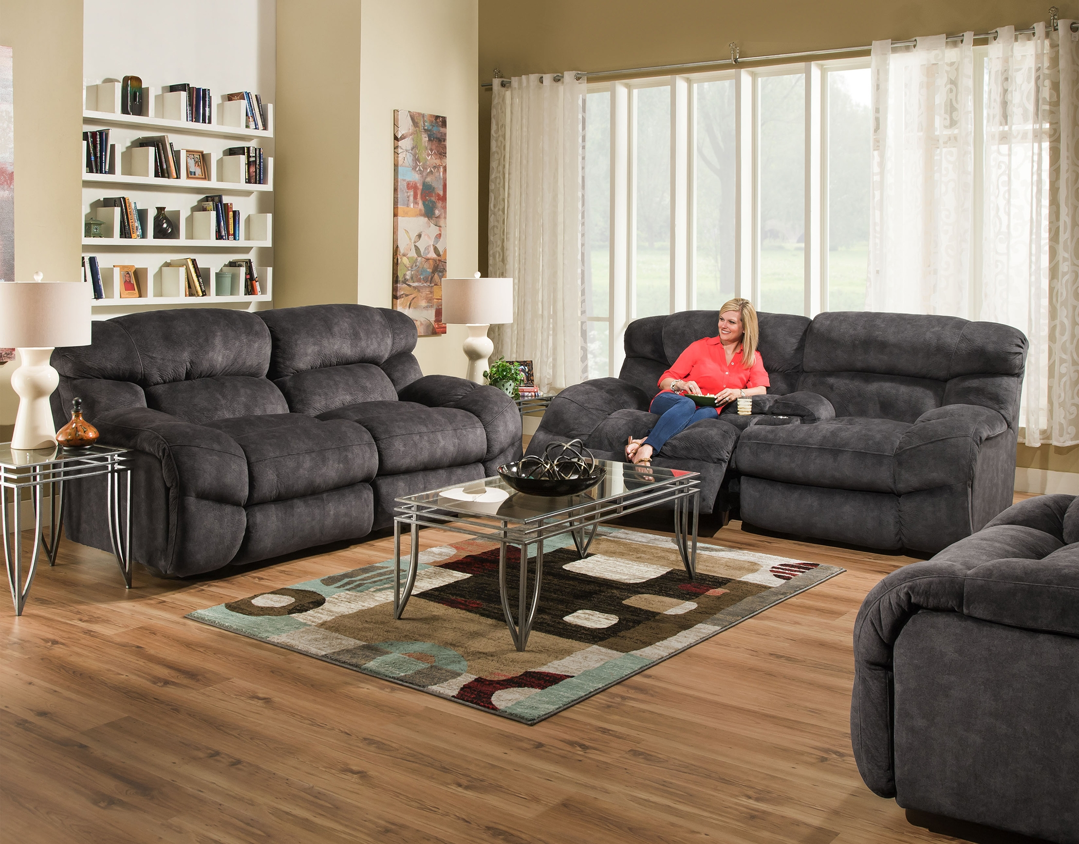 Sensational Charcoal Cloud Power Reclining Sofa And Loveseat Bralicious Painted Fabric Chair Ideas Braliciousco