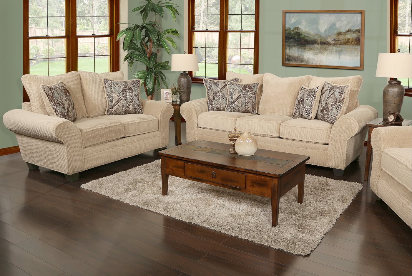 Trinidad sand sofa and loveseat for Living room furniture trinidad