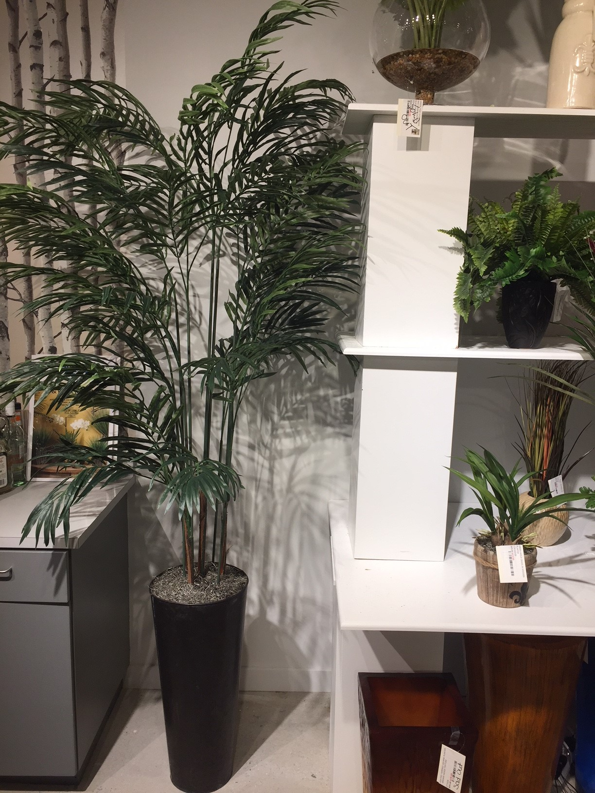 D Amp W Silks 7 Areca Palm Tree In Round Metal Planter