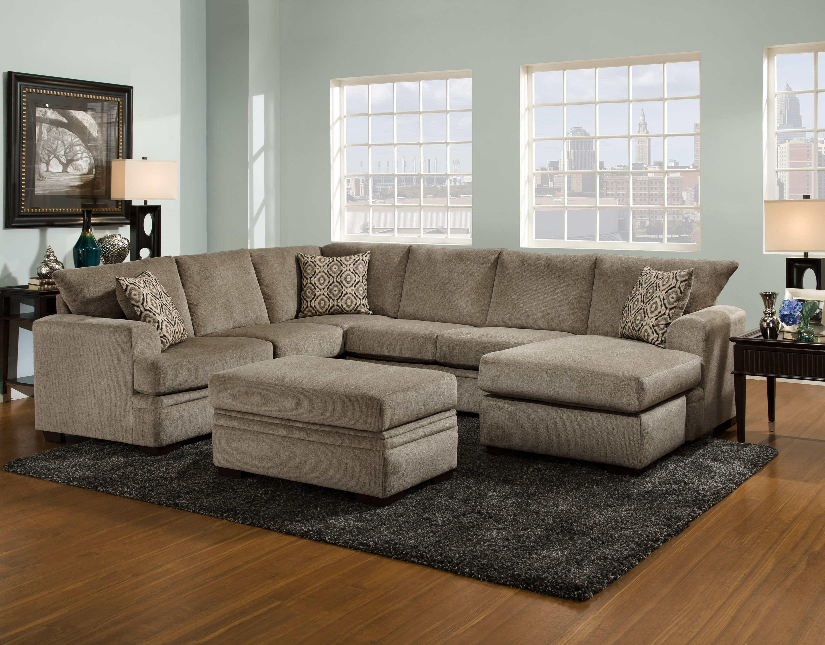 Cornell Pewter 2 Piece Chaise Sectional