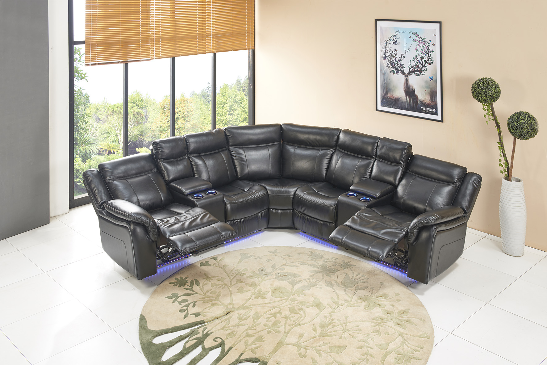 Titanic Furniture Black 3 Piece Power Reclining Sectional