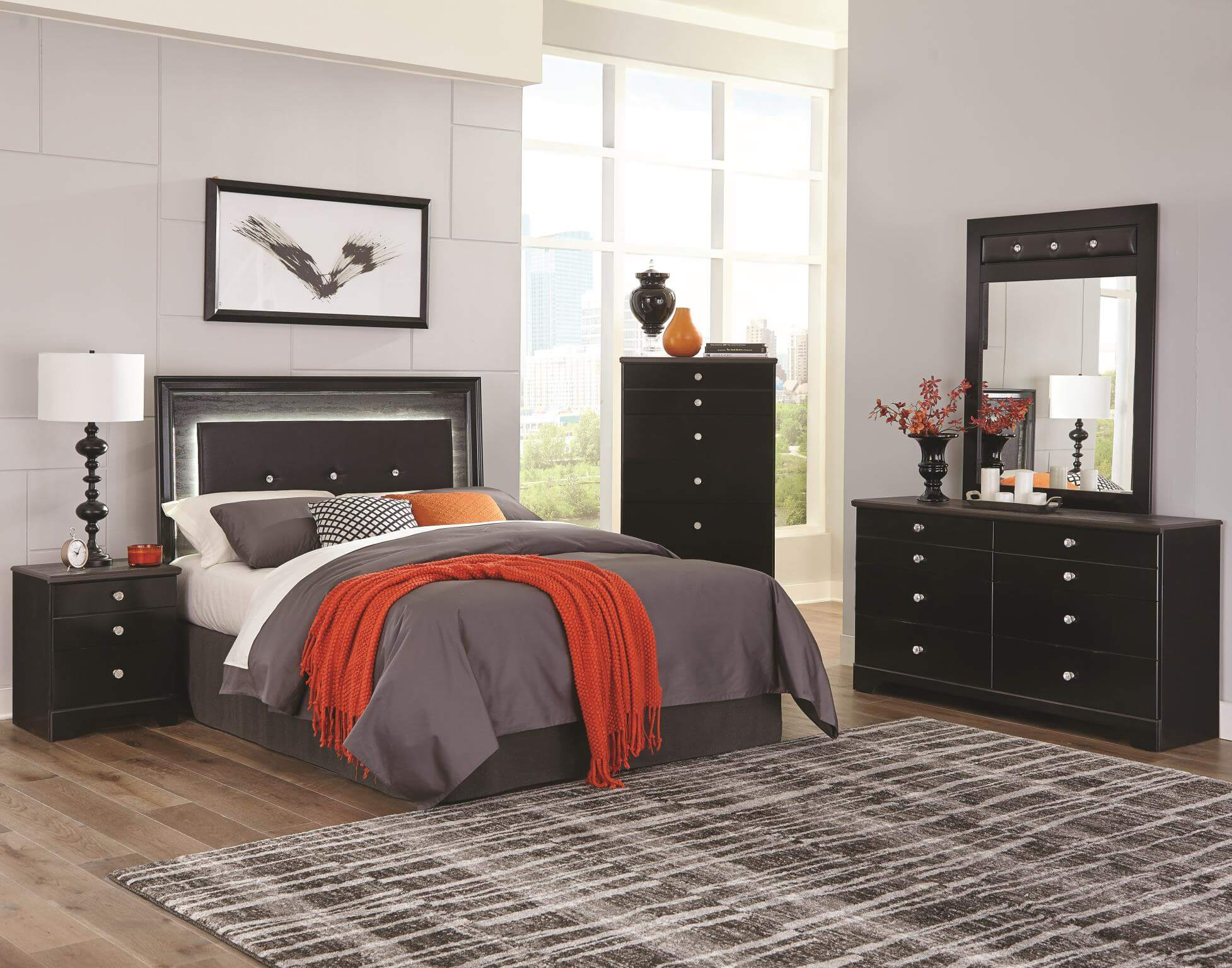 Kith Furniture Kaylynn 4 Piece Queen Bedroom Set with LED Lighted Headboard