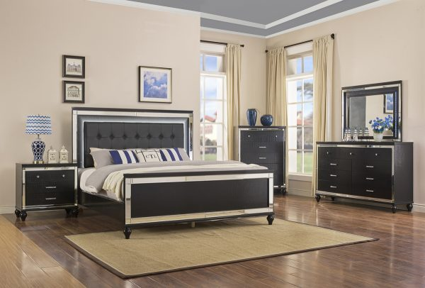 Valentino Black 4 Piece Queen Bedroom Set