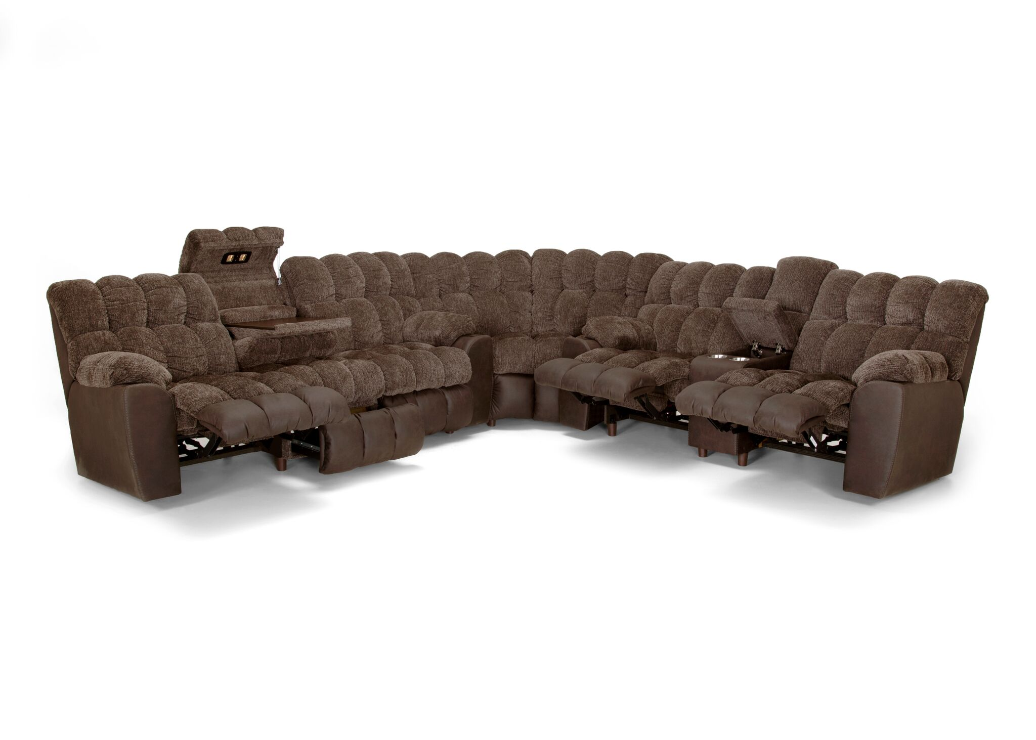 Westwood Chocolate Reclining Sofa And Loveseat With Storage Drop Down Table Lights And Integrated Usb Port