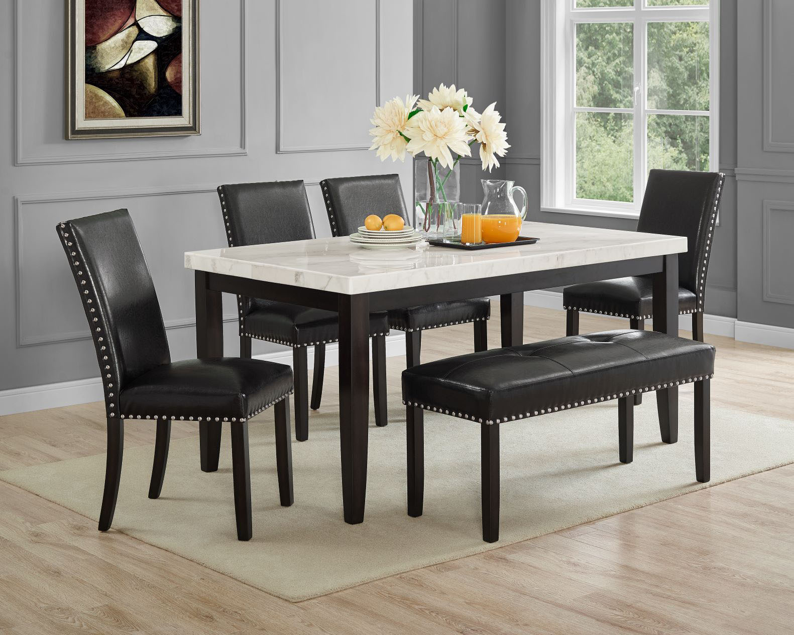 Steve Silver Westby Carrera Marble 5 Piece Dining Set