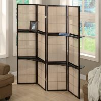 CT/900166 BROWN DRESSING SCREEN w/ SHELF