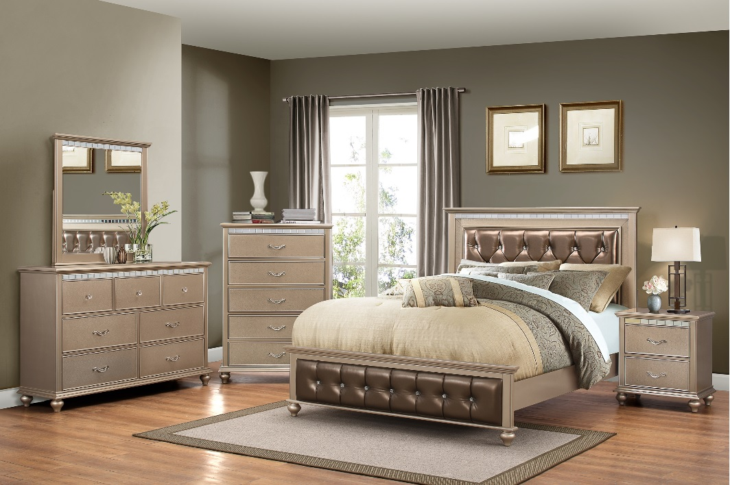 Simmons Hollywood Champaign 4 Piece Queen Bedroom Set